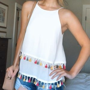 Blue River Layered Tank Top with Tassels